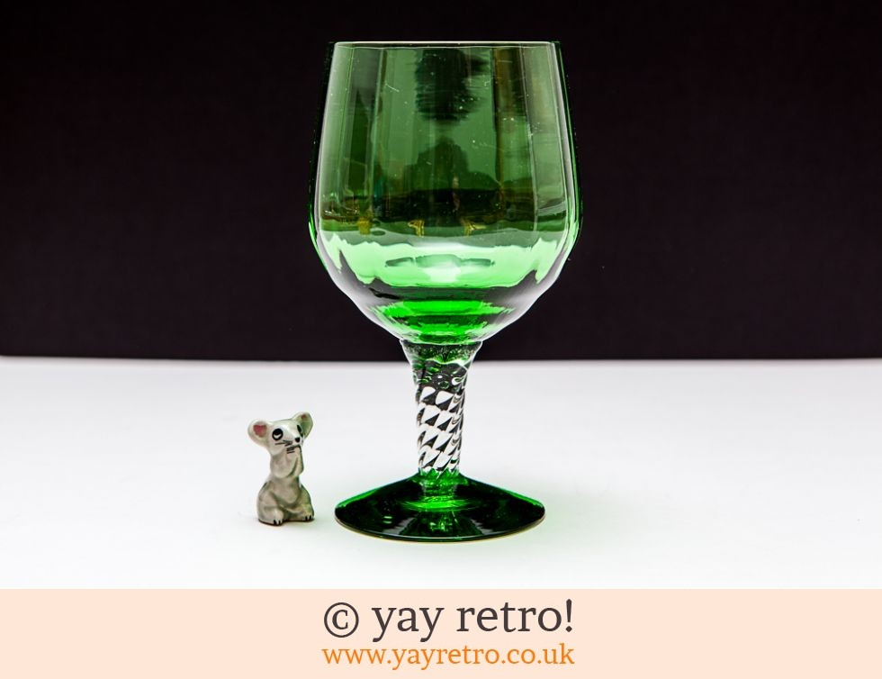 Cat Mouse Green Brandy Glass Vase Vintage Shop Retro China