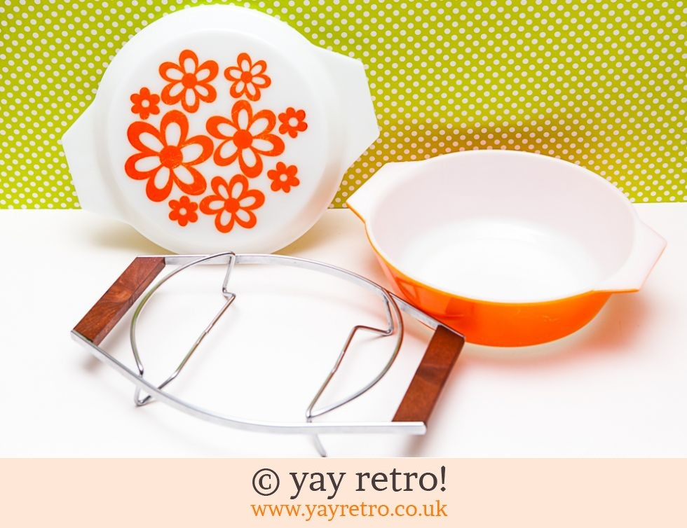 Orange Daisy Pyrex Casserole in Teak Holder (£32.00)