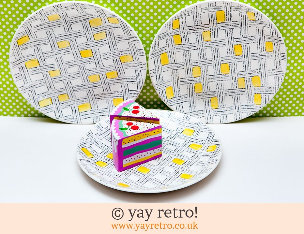 Biltons: 1950s Yellow Check Side Plates (£8.00)