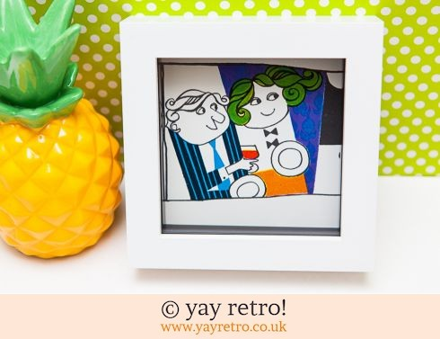 0: Vintage 1967 Couple Illustration Framed 4x4 (£7.90)
