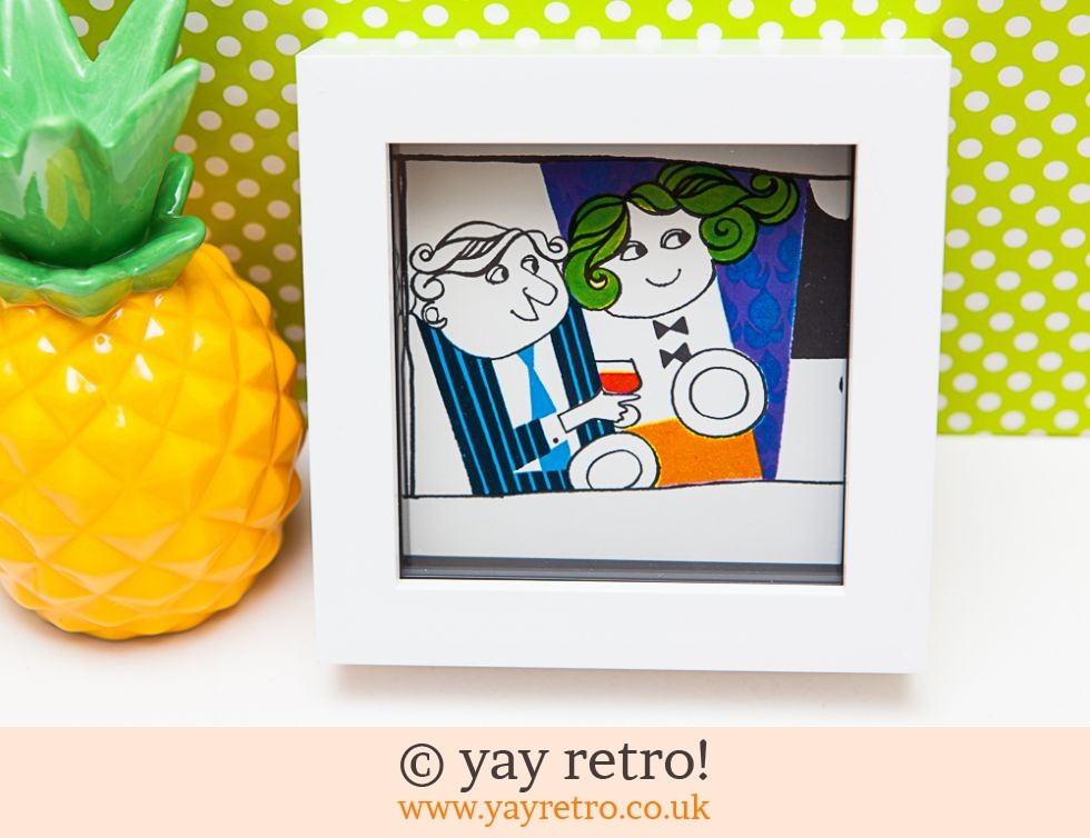 Vintage 1967 Couple Illustration Framed 4x4 (£7.90)