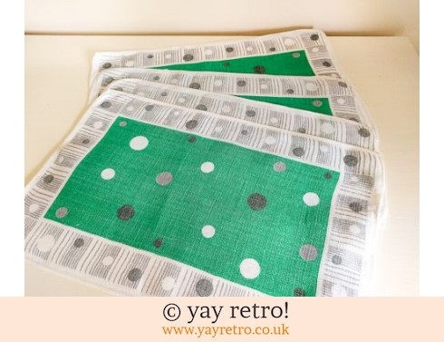 0: 4 Irish Linen Atomic 1950s Table Mats (£17.50)