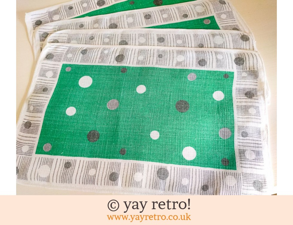 4 Irish Linen Atomic 1950s Table Mats (£17.50)