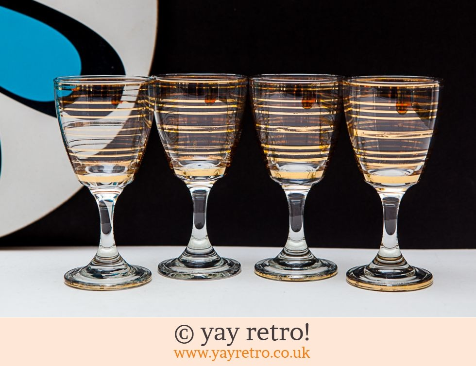 Gold Stripe Vintage Sherry/Port Glasses (£12.75)