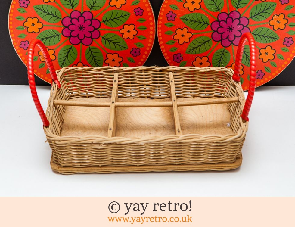 1950s Wicker Tray for Glasses or Spice Jars (£9.50)