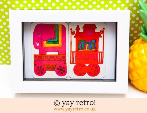 482: Bright Pink 1970s Elephant Train Framed (£8.50)