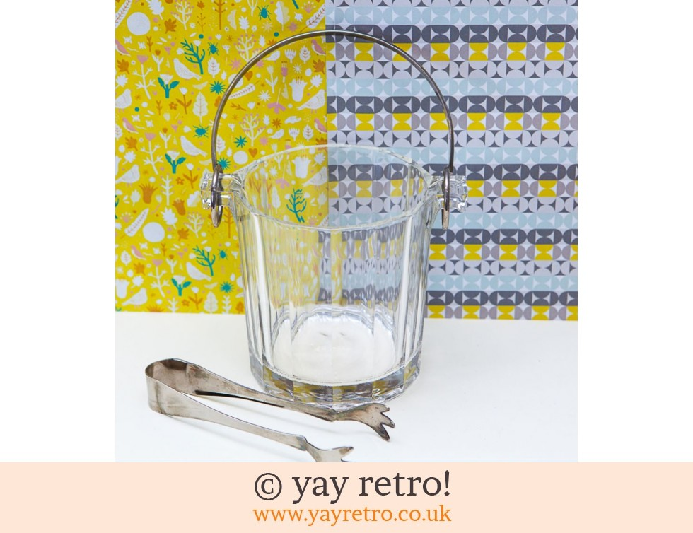 Vintage Glass Ice Bucket and Tongs (£16.00)