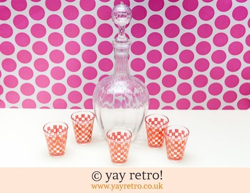 0: Decanter & Pink Check Glasses Set 1950/60s (£14.00)