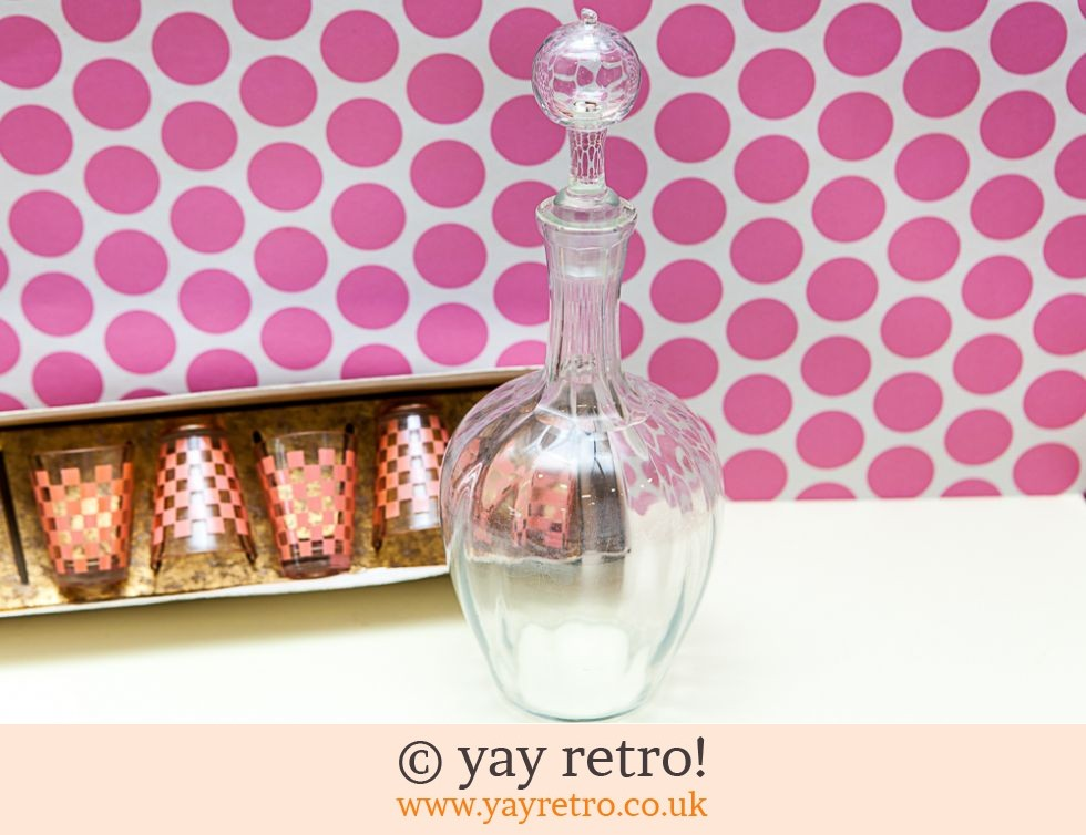 Decanter & Pink Check Glasses Set 1950/60s (£14.00)