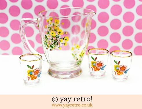 0: 1950s Flowery Jug + free Flower Power Glasses (£14.00)