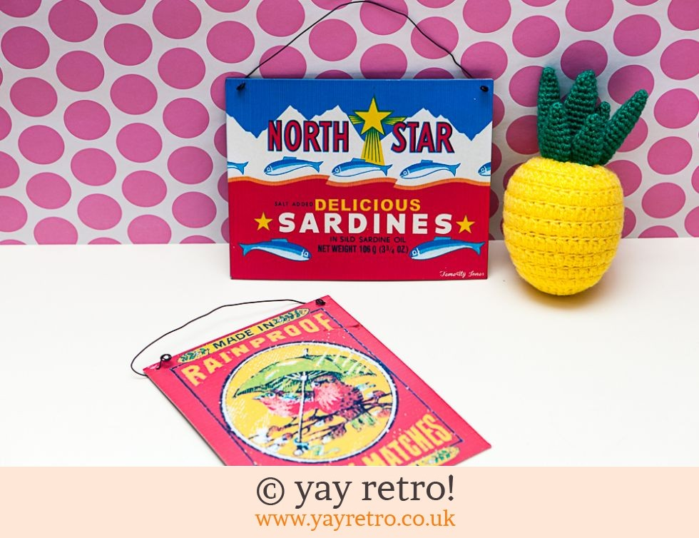 Temerity Jones: Retro Signs - Sardines and Robins (£7.00)