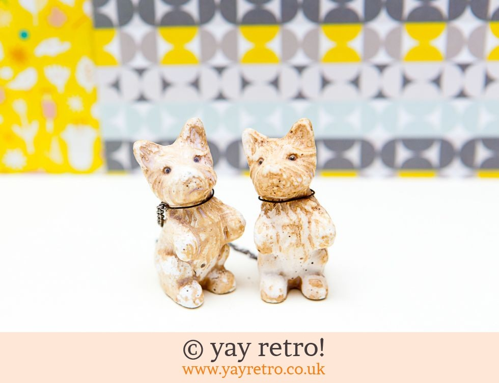 Vintage Chalkware Dogs - Highland Terriers (£4.50)