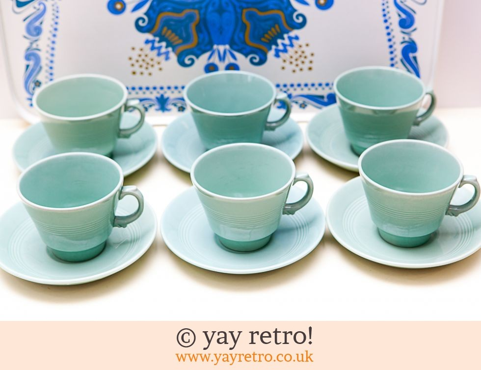 Woods Ware: Beryl Cups and Saucers x 6 (£24.00)