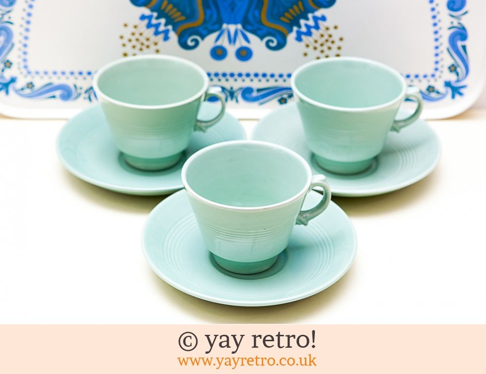 Woods Ware: 3 Beryl Cups & Saucers (£12.00)