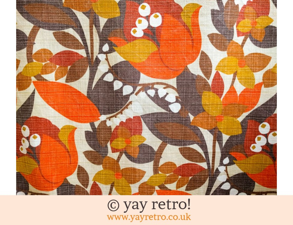 Orange Flower Barkcloth fabric Panel (£10.00)