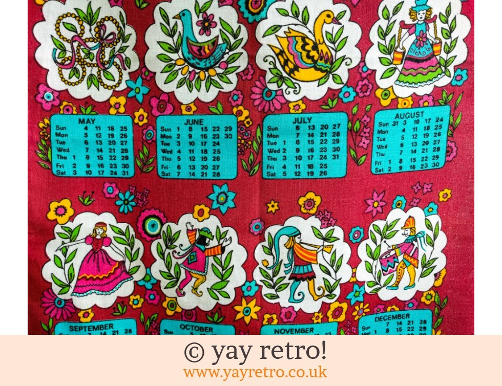 1975 Calendar Tea Towel Scandi Styled Vintage Shop Retro China