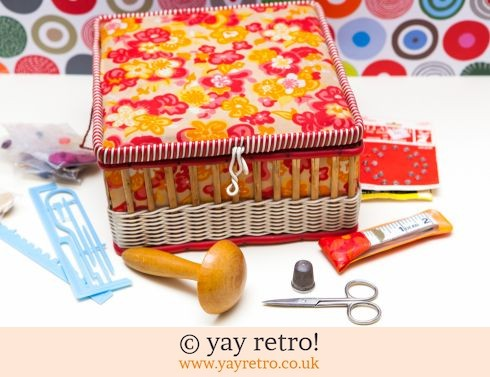 0: Orange Flowery Vintage Woven Sewing Box (£16.00)