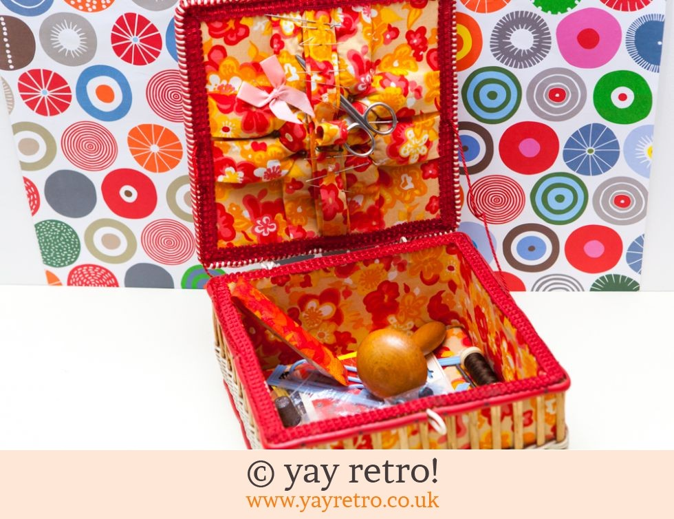Orange Flowery Vintage Woven Sewing Box (£16.00)