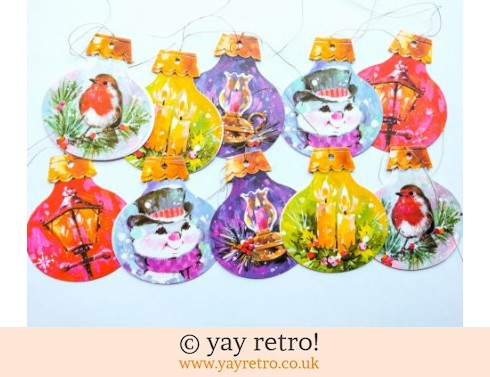 0: 10 Vintage Kitsch Bauble Gift Tags (£5.50)