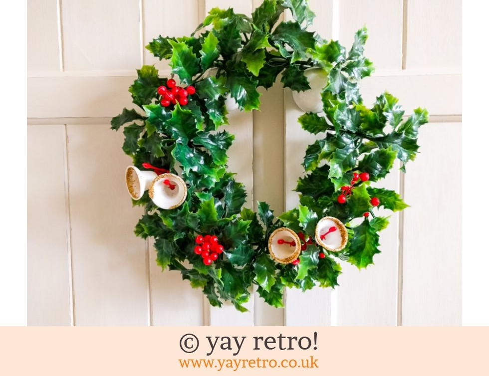 1960s Christmas Wreath with Bells & Holly + Free Tinsel (£13.00)