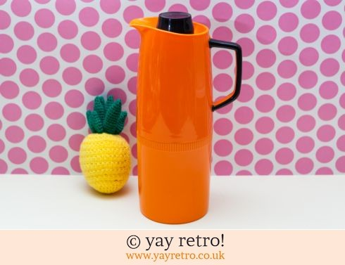 194: Vintage Orange Vacuum Jug Thermos Flask (£14.00)