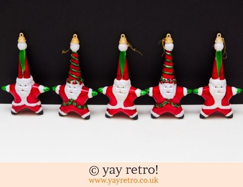0: Vintage Santa Large Decorations x 5 (£10.00)
