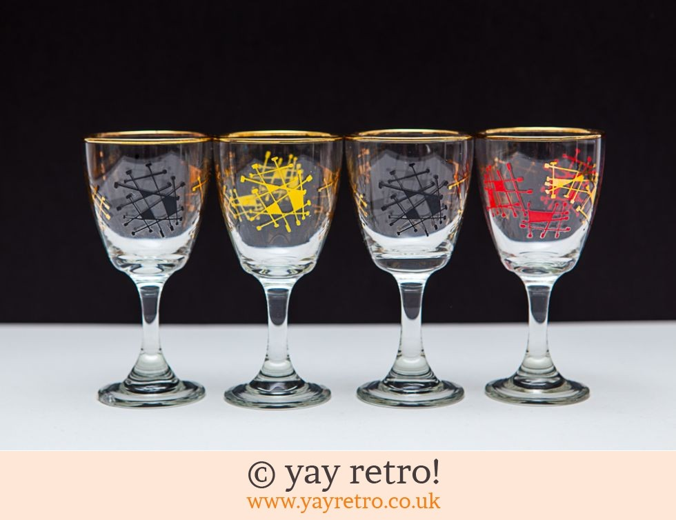 4 Atomic 1950s Sherry Port Glasses Buy Yay Retro