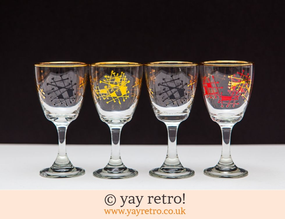 4 Atomic 1950s Sherry/Port Glasses (£12.50)
