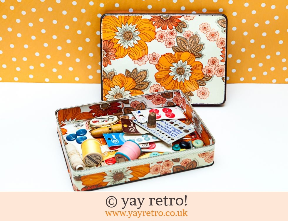 Vintage Flowery Tin with Sewing Bits & Bobs (£10.00)