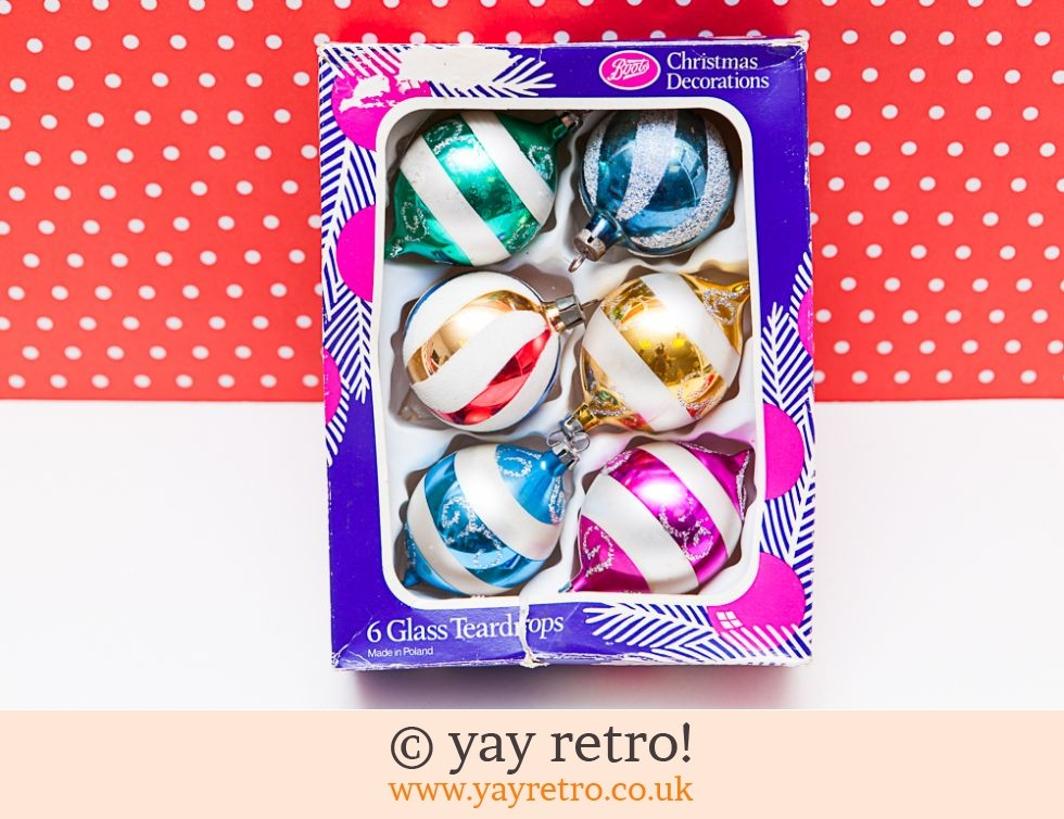 Glass Vintage Christmas Baubles x 6 (£14.70)