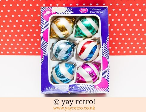 0: Glass Vintage Christmas Baubles x 6 (£14.70)