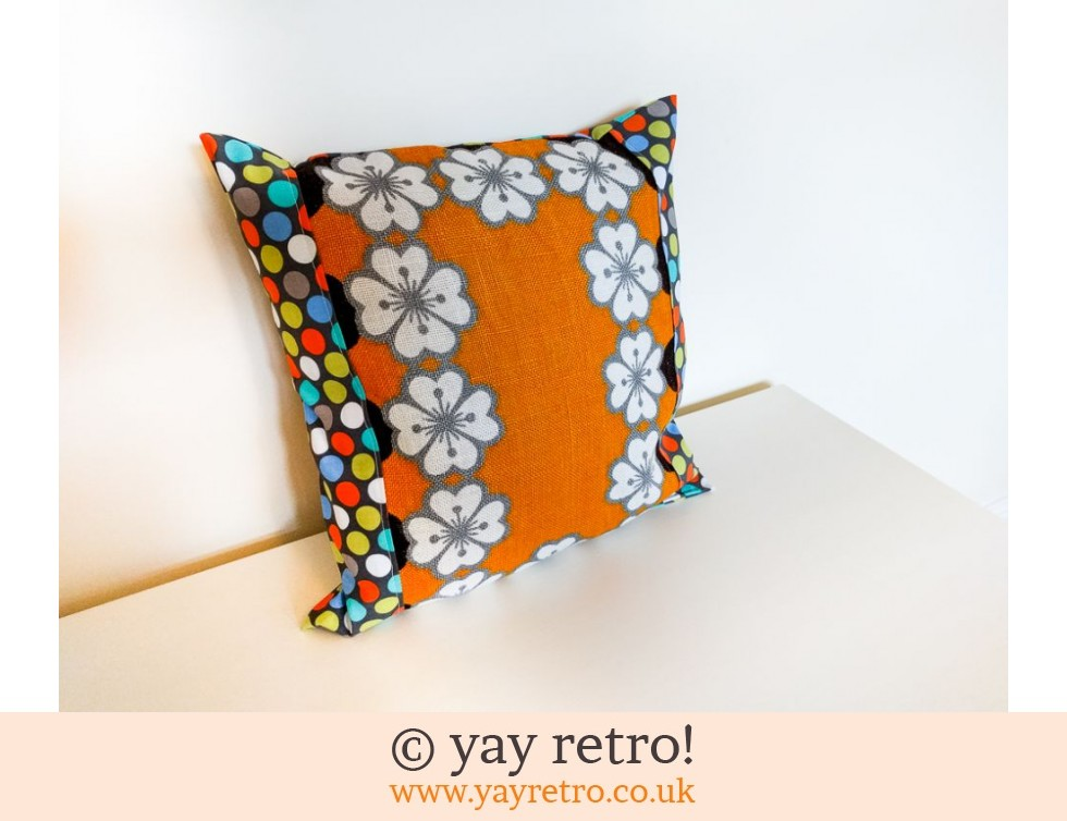 Orange Vintage Flower Cushion (£12.00)