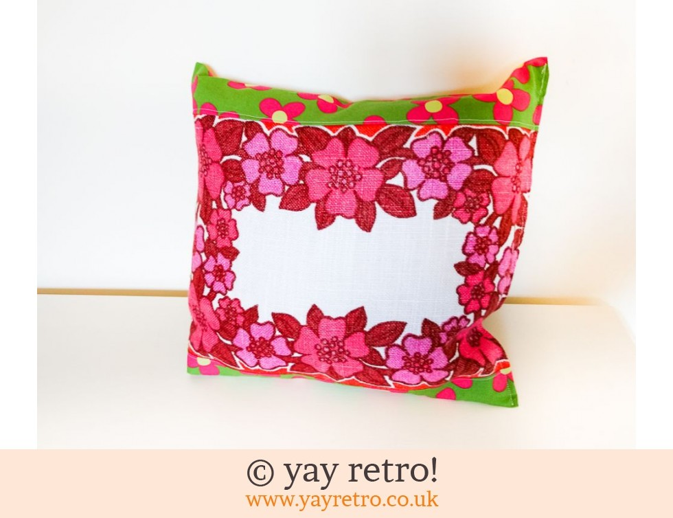 Red Vintage Fabric Cushion (£12.00)