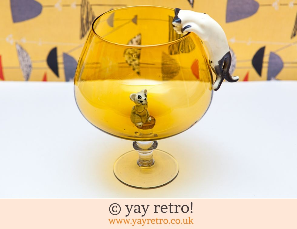 Yellow Cat Amp Mouse Brandy Glass Buy Yay Retro Handmade Crochet Online Arts Amp Crafts Shop