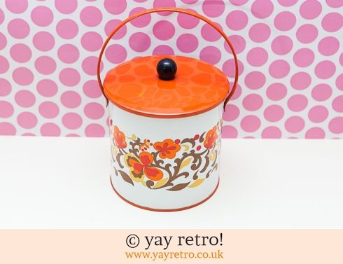 277: 1960/70s Orange Flowery Biscuit Tin - Complete (£29.00)
