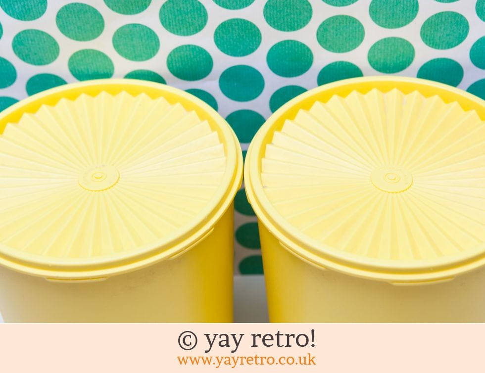 Tall Yellow Vintage Tupperware Storage Containers (£22.95)
