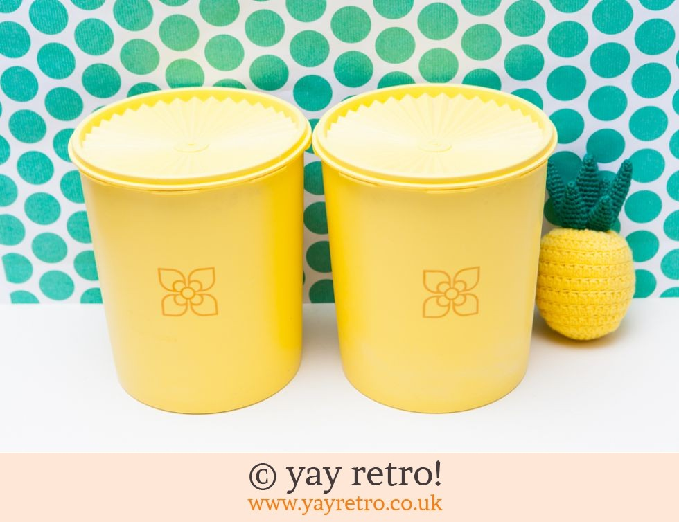 Tupperware: Tall Yellow Vintage Tupperware Storage Containers (£22.95)