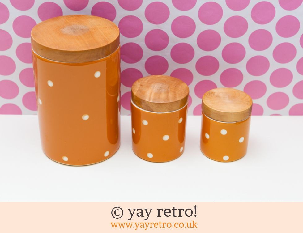 orange storage jars kitchen vintage polka dot storage jars orange vintage shop 3766