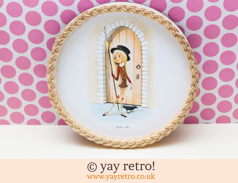 Kitsch English Miss Wicker Tray 1960s (£8.00)