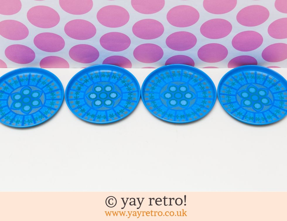 Turquoise Pat Albeck 1960s Coasters x 4 (£12.00)
