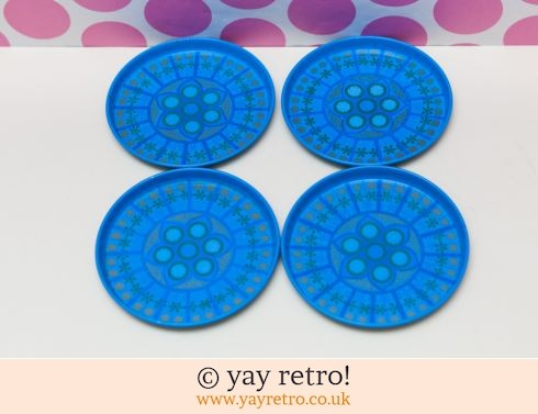 102: Turquoise Pat Albeck 1960s Coasters x 4 (£12.00)