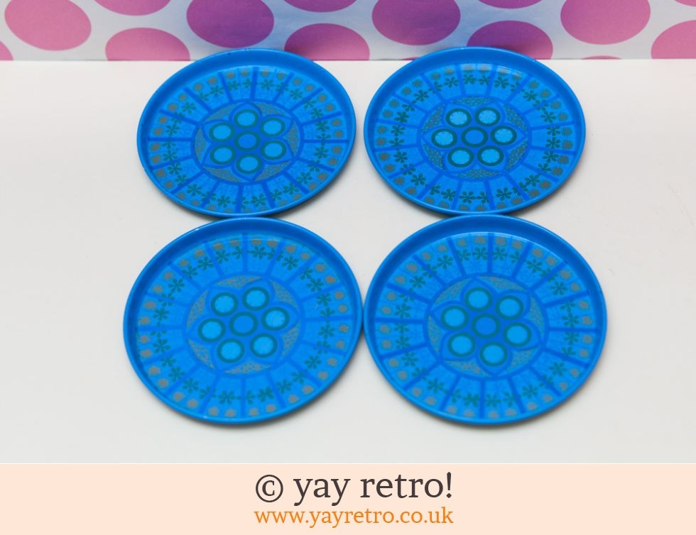 Worcester Ware: Turquoise Pat Albeck 1960s Coasters x 4 (£12.00)