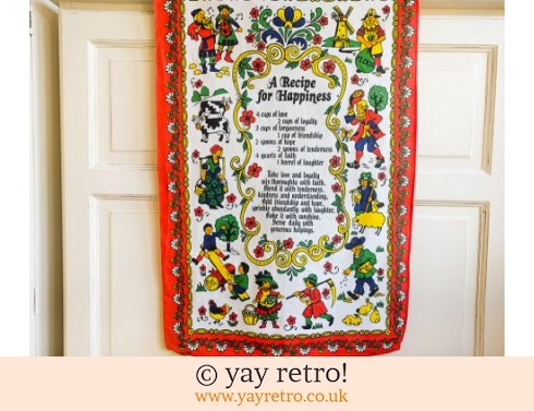0: A Recipe for Happiness Vintage Tea Towel (£5.50)