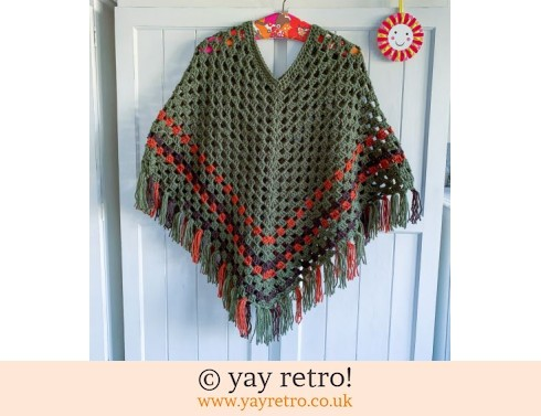 Khaki & Copper Adult Crochet Poncho (£40.00)