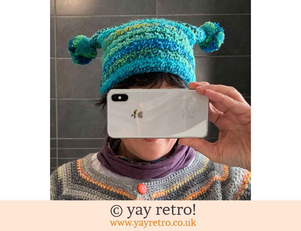 yay retro!: Funky Adult Crochet Pom Pom Hat (£20.00)