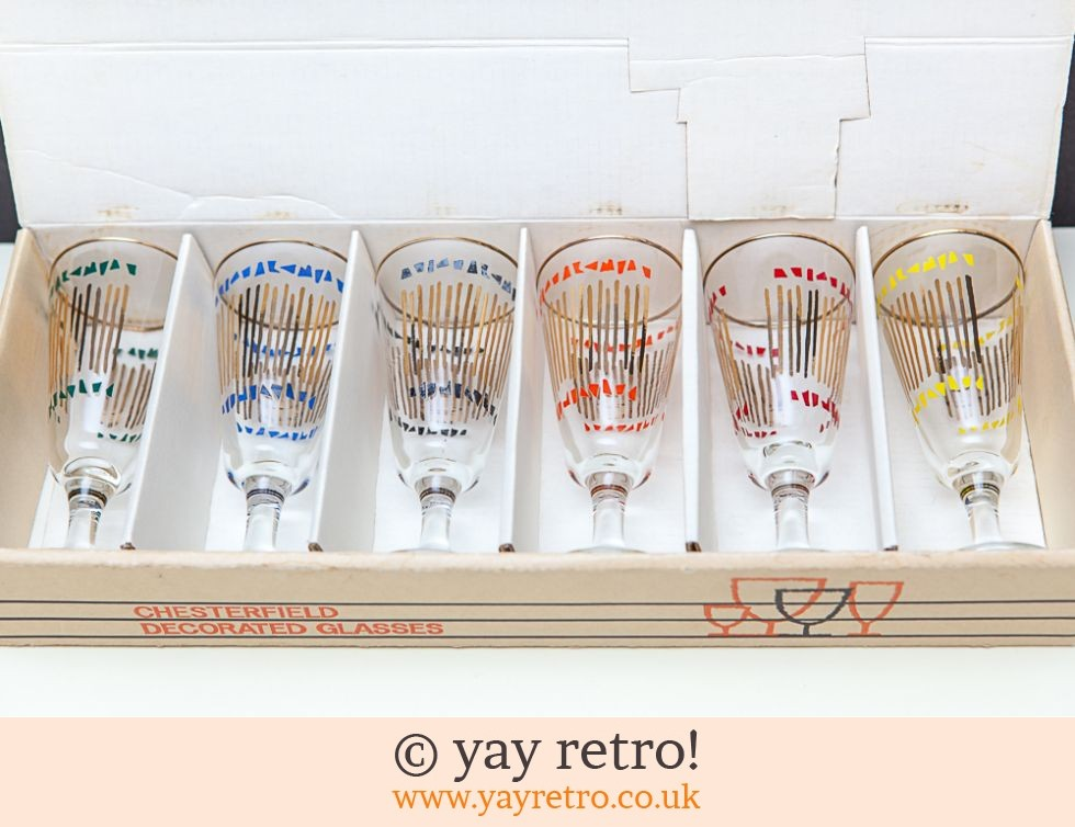 Boxed 1950s Wine Glasses Atomic (£20.00)