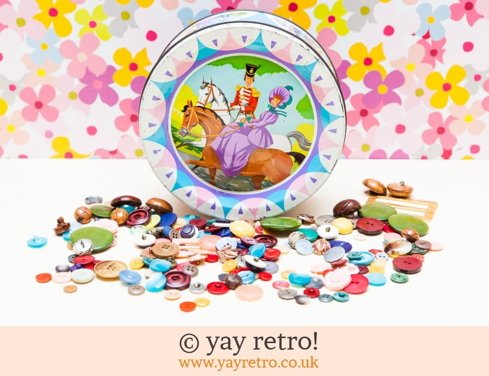 vintage buttons in quality street tin