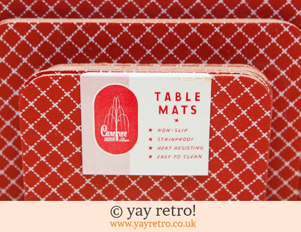 1940 50s Red Table Mats As New Buy Yay Retro Handmade
