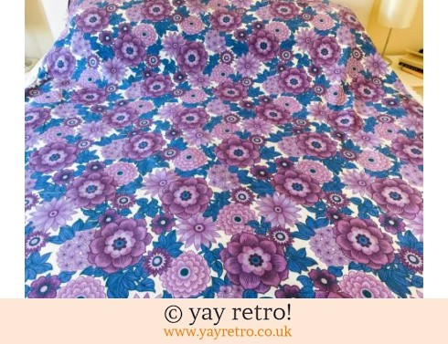 0: Funky Flowery Purple Bedcover Throw 1960/70s (£19.00)