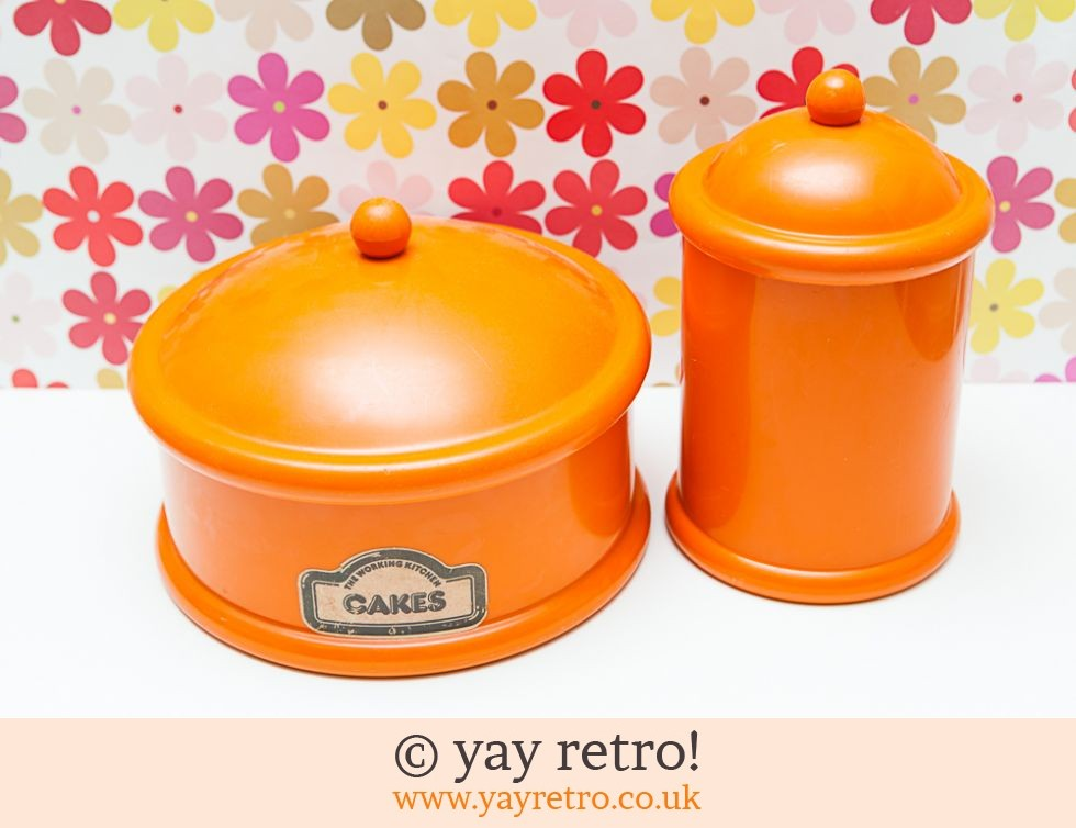 Bright Orange Cake free Storage Container Vintage Shop Retro